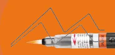 PENTEL COLOUR BRUSH PINCEL NYLON RECARGABLE TINTA NARANJA (GFL-107)