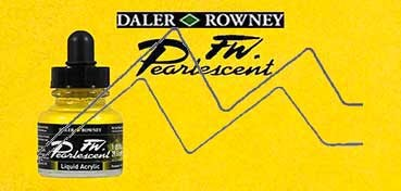 DALER ROWNEY TINTA ACRÍLICA LÍQUIDA FW PEARLESCENT HOT COOL YELLOW Nº 113