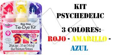 TULIP ONE STEP TIE DYE KIT PSYCHEDELIC CON 3 COLORES