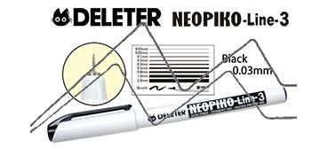 DELETER NEOPIKO LINE-3 ROTULADOR CALIBRADO NEGRO 0.03 MM