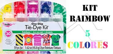 TULIP ONE STEP TIE DYE KIT RAIMBOW CON 5 COLORES