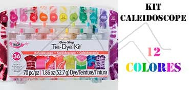TULIP ONE STEP TIE DYE KIT KALEIDOSCOPE CON 12 COLORES