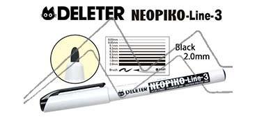 DELETER NEOPIKO LINE-3 ROTULADOR CALIBRADO NEGRO 2.0 MM