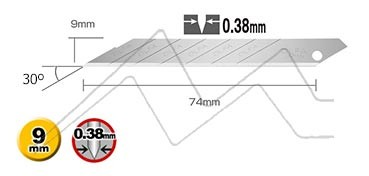 OLFA CUCHILLAS SAB-10B EN ESTUCHE CON 10 HOJAS DE 9 MM -  INCLINACIÓN 30°