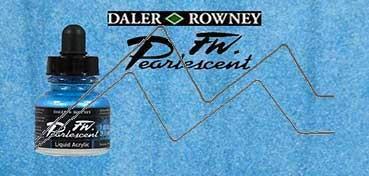 DALER ROWNEY TINTA ACRÍLICA LÍQUIDA FW PEARLESCENT SKY BLUE Nº 130
