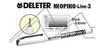 DELETER NEOPIKO LINE-3 ROTULADOR CALIBRADO NEGRO 0.8 MM