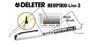 DELETER NEOPIKO LINE-3 ROTULADOR CALIBRADO NEGRO PUNTA DE PINCEL
