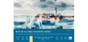 BAOHONG BLOC ACUARELA ARTIST 20 HOJAS 300 G - 18 X 12,5 CM - EDICIÓN BLANCA ÁLVAREZ