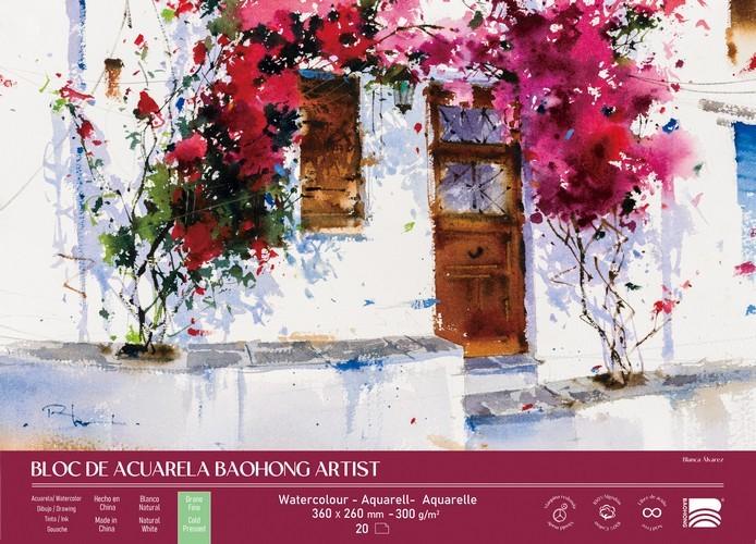 BAOHONG BLOC ACUARELA ARTIST 20 HOJAS 300 G - 36 X 26 CM - EDICIÓN BLANCA ÁLVAREZ