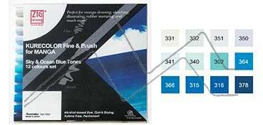 KURETAKE ZIG CARTOONIST KURECOLOR FINE & BRUSH FOR MANGA SET DE 12 ROTULADORES AL ALCOHOL DE 2 PUNTAS FINA - PINCEL - SKY & OCEAN BLUE TONES -