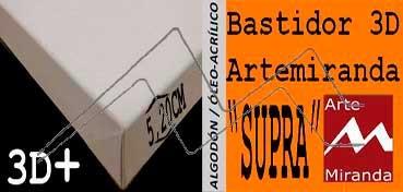 ARTEMIRANDA BASTIDOR SUPRA 3D EXTRA (GRUESO 5,20 CM ) 41X27 CM / 6P ALGODÓN (ÓLEO/ACRÍLICO)