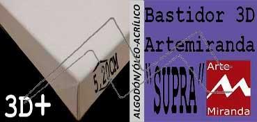 ARTEMIRANDA BASTIDOR SUPRA 3D EXTRA (GRUESO 5,20 CM ) CUADRADO 50X50 CM ALGODÓN (ÓLEO/ACRÍLICO)