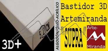 ARTEMIRANDA BASTIDOR SUPRA 3D EXTRA (GRUESO 5,20 CM ) RECTANGULAR 60X30 CM ALGODÓN (ÓLEO/ACRÍLICO)