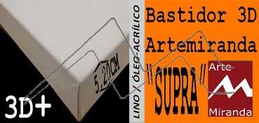 ARTEMIRANDA BASTIDOR SUPRA 3D EXTRA (GRUESO 5,20 CM ) 55X33 CM / 10M LINO (ÓLEO/ACRÍLICO)