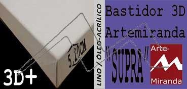 ARTEMIRANDA BASTIDOR SUPRA 3D EXTRA (GRUESO 5,20 CM ) CUADRADO 40X40 CM LINO (ÓLEO/ACRÍLICO)