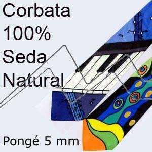 CORBATAS 100% SEDA NATURAL PONGÉ BLANCO 5 MM