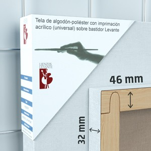 BASTIDOR GALERÍA 3D (46X32 MM) ALGODÓN Nº2 FINO ÓLEO/ACRÍLICO (ACABADO ACRÍLICO)