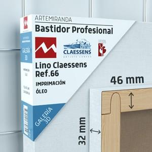 BASTIDOR PROFESIONAL ARTEMIRANDA GALERÍA 3D (46X32 MM) LINO MEDIO-FINO CLAESSENS REF.66 ÓLEO (ACABADO ALQUÍDICO)