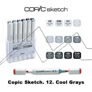 COPIC SKETCH ESTUCHE CON 12 ROTULADORES GRISES FRIOS. COOL GRAYS