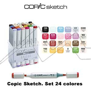 COPIC SKETCH ESTUCHE CON 24 ROTULADORES COLORES SURTIDOS