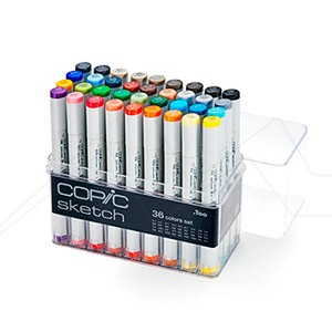 COPIC SKETCH ESTUCHE CON 36 ROTULADORES. 12 GRISES + 24 COLORES SURTIDOS