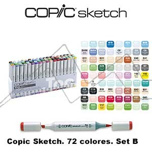 COPIC SKETCH ESTUCHE CON 72 ROTULADORES COLORES SURTIDOS. SET B
