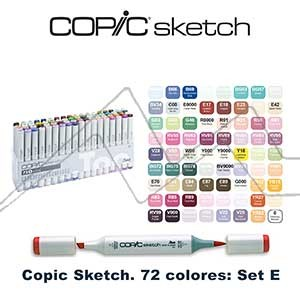 COPIC SKETCH ESTUCHE CON 72 ROTULADORES COLORES SURTIDOS. SET E