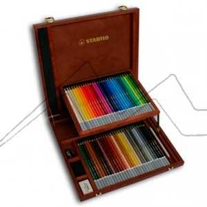STABILO CARBOTHELLO - Caja de madera con 60 colores + accesorios