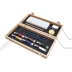 WINSOR & NEWTON ART BOX CAJA DE MADERA ACUARELA COTMAN 6 TUBOS DE 8 ML + ACCESORIOS