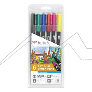 TOMBOW DUAL BRUSH ESTUCHE CON 6 ROTULADORES DE DOBLE PUNTA COLORES PRIMARIOS