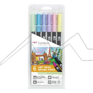 TOMBOW DUAL BRUSH ESTUCHE CON 6 ROTULADORES DE DOBLE PUNTA COLORES PASTEL