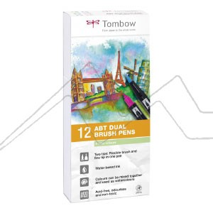 TOMBOW DUAL BRUSH ESTUCHE CON 12 ROTULADORES DE DOBLE PUNTA COLORES PASTEL