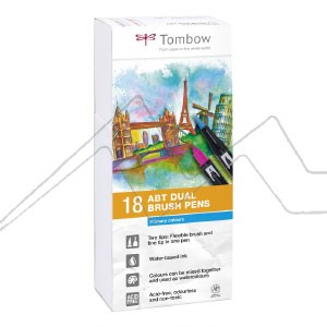 TOMBOW DUAL BRUSH ESTUCHE CON 18 ROTULADORES DE DOBLE PUNTA COLORES PRIMARIOS