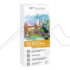 TOMBOW DUAL BRUSH ESTUCHE CON 18 ROTULADORES DE DOBLE PUNTA COLORES SECUNDARIOS