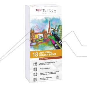 TOMBOW DUAL BRUSH ESTUCHE CON 18 ROTULADORES DE DOBLE PUNTA COLORES TIERRA