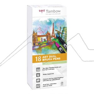 TOMBOW DUAL BRUSH ESTUCHE CON 18 ROTULADORES DE DOBLE PUNTA COLORES PASTEL