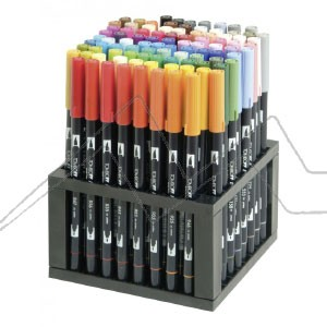 TOMBOW SOPORTE DE SOBREMESA CON 96 ROTULADORES DUAL BRUSH (1 X COLOR)