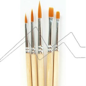 ART CREATION SET 5 PINCELES FIBRA TORAY NARANJA MANGO CORTO