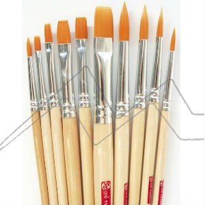 ART CREATION SET 10 PINCELES FIBRA TORAY NARANJA MANGO CORTO