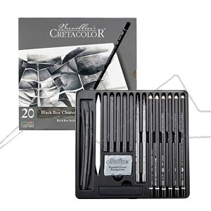 CRETACOLOR BLACKBOX ESTUCHE METAL CARBONCILLO 20 PIEZAS
