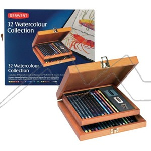 DERWENT WATERCOLOUR COLLECTION CAJA DE MADERA CON 32 PIEZAS
