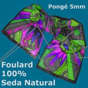 PAÑUELO - FOULARD DE SEDA NATURAL 100% - PONGÉ BLANCO 5 MM