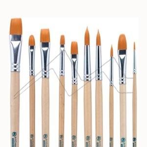 ART CREATION SET 10 PINCELES FIBRA TORAY NARANJA MANGO LARGO