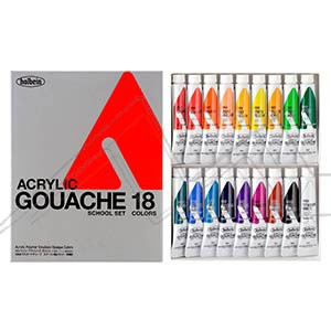 HOLBEIN ACRYLA GOUACHE COLORS SCHOOL SET D982 - SET 18 TUBOS DE 12 ML