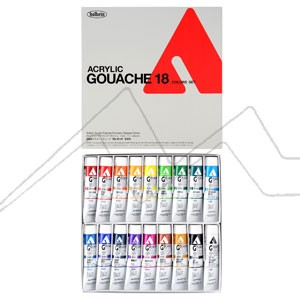 HOLBEIN ACRYLA GOUACHE COLORS SET D414 - SET 18 TUBOS DE 20 ML