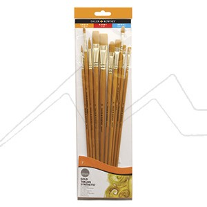 DALER ROWNEY SIMPLY ART SET 10 PINCELES SINTETICOS TAKLON DORADO MANGO LARGO