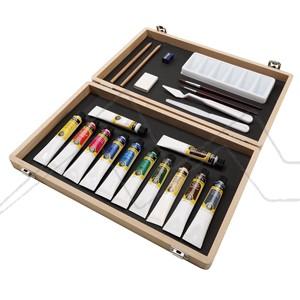 WINSOR & NEWTON ART BOX CAJA DE MADERA ACRÍLICO GALERÍA 12 TUBOS DE 20 ML + ACCESORIOS