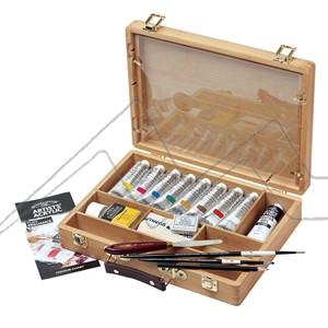 WINSOR & NEWTON ACRYLIC ARTIST BAMBOO BOX - CAJA DE MADERA DE BAMBÚ CON 8 TUBOS DE 60 ML DE ACRÍLICO ARTIST + MEDIUMS Y ACCESORI