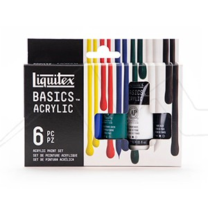 LIQUITEX BASICS ACRYLIC SET COLORES VARIADOS CON 6 TUBOS DE 22 ML