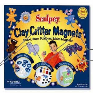 CLAY CRITTER MAGNETS 150G SCULPEY BLANCO+CORTADORES+PINTURAS+PINCEL+IMANES